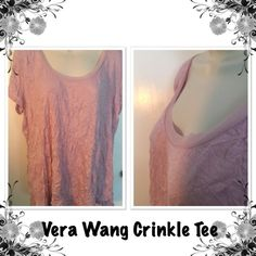 Vera Wang Crinkle Tee Vera Wang Soft Pink Crinkle Tee with Chifon neck trim Vera Wang Tops Tees - Short Sleeve