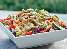 Made with crisp Napa cabbage, crunchy vegetables, edamame and creamy peanut dressing, this was inspired by the Thai Crunch Salad from California Pizza Kitchen.