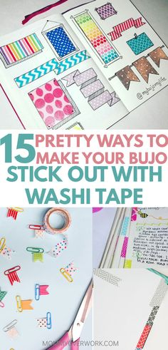 15 clever bullet journal washi tape ideas and uses text atop bullet journal banners and paper clip flags with washi tape
