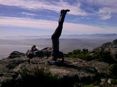 Inverting on top of Table Mountain.