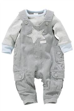 Buy Grey Cord Dungarees And Bodysuit Set from the Next UK online shop