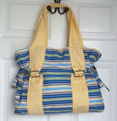 Striped Blue Yellow and White Tote Bag Overnight by EmeraldLilyCS, $53.00 Emerald Lily Craft Studio .com