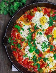 BEST Shakshuka recipe you will ever try! Eggs poached in a perfectly spiced tomato and bell pepper sauce/stew. Add your favorite bread to complete the meal. Recipe includes how-to video! Shakshuka Recipes, Easy Mediterranean Diet Recipes, Mediterranean Dishes, Healthy Dinner Recipes, Vegetarian Recipes, Vegetarian Breakfast, Breakfast Recipes, Morrocan Food, Recipes