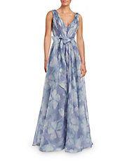 Floral Print Waist Tie Gown