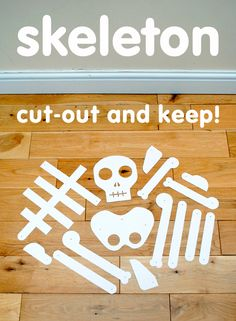 skeleton cut out - templates HERE: http://www.thecraftycrow.net/2011/06/a-book-a-craft-funnybones-paper-skeleton.html