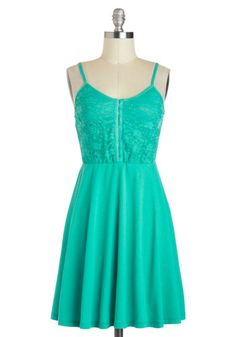 I'll Teal You What Dress - Mid-length, Green, Solid, Lace, Party, A-line, Spaghetti Straps, Prom