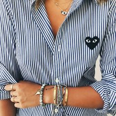 Comme des Garcons Play Striped Button Down Shirt Look Fashion, Fashion Details, Winter Fashion, Fashion Design, Vogue Fashion, Fashion Killa, Womens Fashion, Fashion Trends, Looks Style