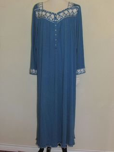 EILEEN WEST Ankle Length Nightgown Gown Classical Touch NWT Sz 2X Blue Long Slv #EileenWest #Gowns
