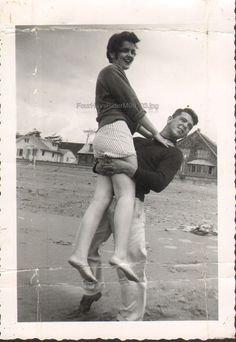 Loving Couple Vintage Photo Man Holds Girl Smiles 1950s Romance Photo