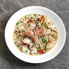 Hummerrisotto mit Erbsen, Tomaten, Zucchini und Estragon