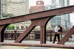Chicago engagement session on the LaSalle Street Bridge over the Chicago River. #TWAphoto #wedding #engagement
