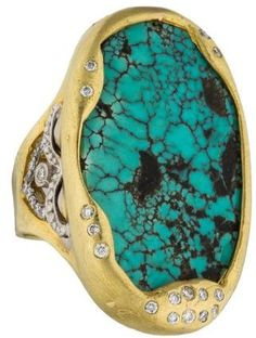 Tanya Farah 18K Diamond & Turquoise Ring