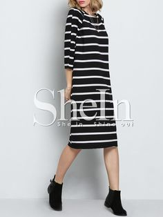 Vestido cuello redondo rayas-Sheinside