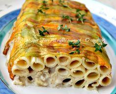 #Pasta con fiori di #zucca e #alici | sformato di pasta