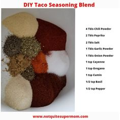 Taco Seasoning DIY - Not Quite Super Mom Ditch the packet and make your own taco seasoning blend! DIY seasoning blends are easier than you think! Taco Tuesday never looked so good! Make Taco Seasoning, Seasoning Mixes, Red Enchilada Sauce, Homemade Tacos, Healthy Eating Tips, Healthy Food, How To Make Homemade, Super Mom, Food Dishes