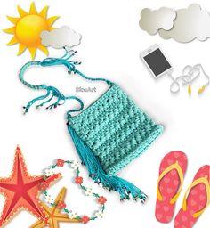 Fringed Shoulder Purse,Beaded Fringe Bag&Purse,T-shirt Yarn,Jersey Yarn,Boho Chic Bag,Handmade Crochet Bag,Turquoise Purse,Multicolor Bead