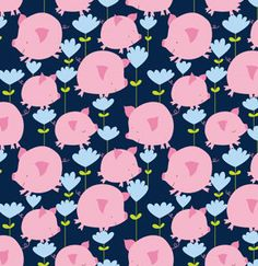 This is an adorable kids fabric from US designer David Walker! Cute pink pigs and flowers on a navy blue background Pig Wallpaper, Pattern Wallpaper, Iphone Wallpaper, David Walker, Decoupage Vintage, This Little Piggy, Little Pigs, Pig Illustration, Gift Wrapper