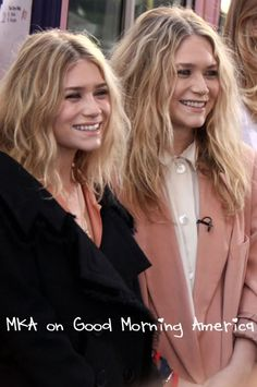 Mary-Kate and Ashley Olsen at Good Morning America. #style #fashion #olsentwins