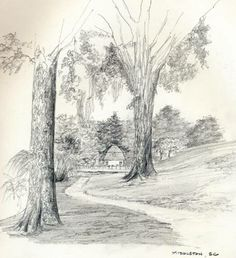 Landscape Drawings in Pencil | landscape drawing landscape and architecture by helen south