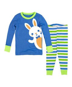 Love this Blue & Green Bunny Pajama Set - Infant, Toddler & Boys on #zulily! #zulilyfinds