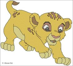 "A playful cub from ""The Lion King"". Simba, Disney, The Lion King, cartoon, lion, animal cross-stitch, back stitch, cross-stitch scheme, free..."