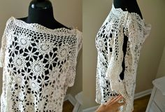 DIY crochet tablecloth to drapey shirt....maybe sew the sleeve seam all the way, make it shorter, and wear with jeans..oooooh