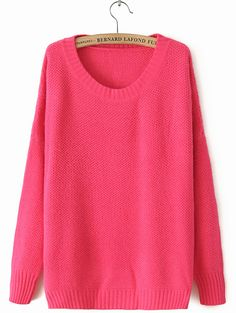 Rose Red Round Neck Long Sleeve Loose Sweater - Sheinside.com