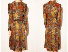 1970's rose print pleated vintage dress,Bronze dress,Rose dress,Floral Dress,L size dress,Autumn Winter Dress,Pleated dress,Tea length dress by VintageCosmopolitan on Etsy