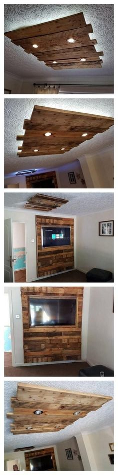to Make a Fancy Ceiling & Lights With Pallet Wood reuse of pallet woodsreuse of pallet woods Ceiling Design, Lamp Design, Wood Interiors, Rustic Lighting, Wood Bars, Wood Pallets, Pallet Wood, Pallet Furniture, Home Projects