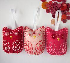 Valentines Day Eco Felt Owl Ornament Set  by lova revolutionary, via Flickr