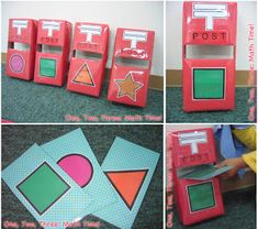 Shape Post for matching shapes - tissue boxes red construction paper shape clip art and envelopes (pinned by Super Simple Songs) for Preschool Centers, Preschool Themes, Preschool Crafts, Post Office Game, Jolly Christmas Postman, Katie Morag, Teaching Shapes, Teaching Math, People Who Help Us