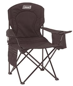 This extra-large chair has a padded seat and back, with comfortable, adjustable-height armrests. Coleman Oversized Quad Chair with Cooler Pouch Soft cooler pouch x x holds 2 - 4 cans and 1 Coleman Chiller (small). Folding Beach Chair, Folding Camping Chairs, Folding Chairs, Quad, Camping Furniture, Outdoor Furniture, Wood Furniture, Modern Furniture, Quality Furniture