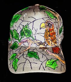 e4c4c597398 Items similar to Mens Hawk in the Woods Baseball Cap Hand Painted on Etsy