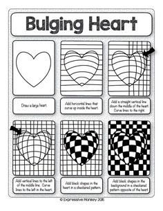 Make this Op Art Heart with step-by-step instructions. Sent some Heart Art for Valentines Day!