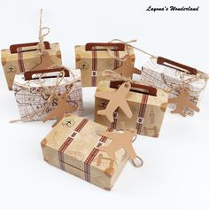 AerWo Upgraded Travel Themed Party Favor Boxes, Double Sided Suitcase Favor Boxes Candy Box with Tags and Burlap Twine for Wedding Bridal Shower Travel Theme Party Supplies Candy Gift Box, Candy Boxes, Favor Boxes, Paper Candy, Paper Tags, Kraft Paper, Rehearsal Dinner Favors, Birthday Souvenir, Classic Theme