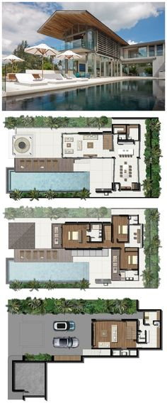 Built by Original Vision in , Thailand with date Images by Andrew Loiterton. The client's brief was to create a Development of luxury family villas on a prime beach front plot of land on the wes. Modern House Plans, House Floor Plans, Amazing Architecture, Modern Architecture, Villa Plan, Modern Mansion, Sims House, House Layouts, Beach House Decor