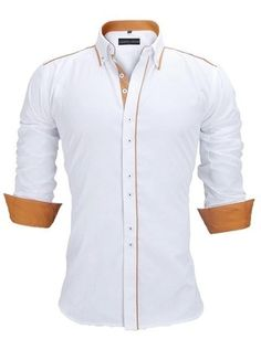 Camisa Casual/Social con Detalles en Contraste - Estilo Actual - en Blanco, Negro y Azul Claro