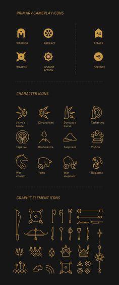 MahaYodha - Card Game on Behance Game Card Design, Board Game Design, Game Gui, Game Icon, Icon Design, Logo Design, Type Design, Graphic Design, Gui Interface
