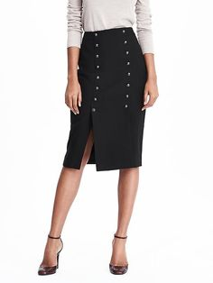 Love the little details on this midi skirt. Perfect for a night out or a day at work.