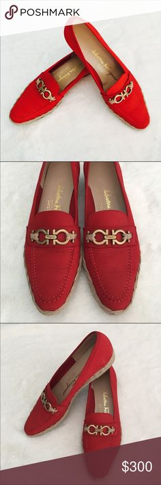 Salvatore Ferragamo Boutique Espadrille Loafer Enchanting red suede/leather slip on loafer in excellent (hardly worn) condition. •Made in Italy •Red Suede/Leather •Espadrille Lower Detail •Ferragamo Trademark Buckle *Note; these run small. I am a true 6.5 & can hardly wear them. I recommend for a size 5.5-6. Thanks! Salvatore Ferragamo Shoes Flats & Loafers