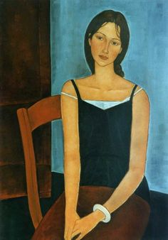 Definitely NOT by Modigliani, but very nice anyway. Amedeo Modigliani, Modigliani Paintings, Figure Painting, Painting & Drawing, Painting Gallery, Portrait Art, Figurative Art, Female Art, Art History