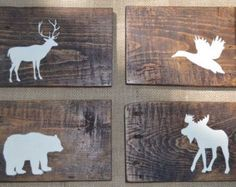 10x10 Rustic Reclaimed Wood Woodland Animals by DevenieDesigns