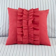 Hot pink ruffle pillow for bebe girl bed