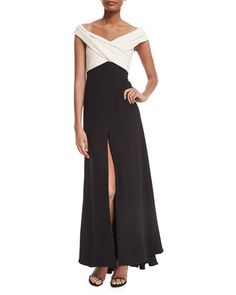 Off-The-Shoulder+Crisscross+Colorblock+Gown+by+J.+Mendel+at+Neiman+Marcus.