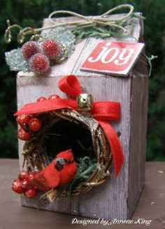 love this idea ~ milk carton turned bird house christmas ornament