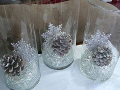 fill apothecary jars with crystal stones, pine cones, and snowflakes for winter . - fill apothecary jars with crystal stones, pine cones, and snowflakes for winter decorating – by d - Baby Shower Winter, Baby Winter, Winter Theme, Winter Blue, Winter Sweet 16, Christmas Baby Shower, Winter Colors, Winter Wonderland Centerpieces, Winter Centerpieces