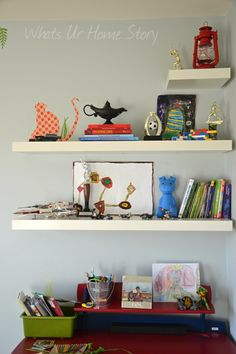 Whats Ur Home Story: Decorating with floating shelves, explorer themed boys room