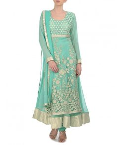 Sea Green Anarkali Suit with Embroidered Layer by Dia Kapoor Shop Now: http://bit.ly/diaksuits #Embroidery #Luxury #Fashion #Multicolour #India #Ethnic #Desi #ExclusivelyIn #Indian #Elegant #Gorgeous #Designer #WeddingWear #Golden #Zari #Anarkali #Embellishments #Saree #WeddingWear #PartyWear #Multicolor #OccasionWear #Floral #Paisley #Sequins #Embroidery