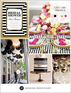 Black and white is a color trend we don't see going away any time soon. Add a splash of pink and gold metallic and it makes for a gorgeous color theme for a City Chic bridal or baby shower. https://www.weddingpaperdivas.com/wedding-party-invitations.htm?CID=SM-FAN-WPD-PT_WPD0PTPPB042&pp=1&utm_content=bufferfc179&utm_medium=social&utm_source=pinterest.com&utm_campaign=buffer