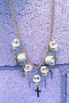 SALE Dead Mans Bones Neon Green Statement by PaolaLoves2Shop, $22.00